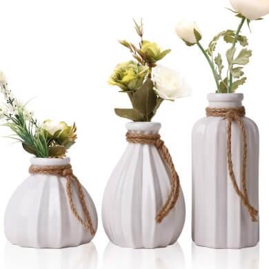 jarrones floreros juego conjunto colores blanco