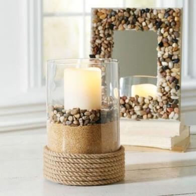 Decorar con piedras cuerda crista velas ideas para decorar espejos