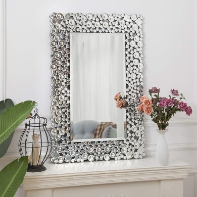 espejo cristal marco decorativo salon comedor florero