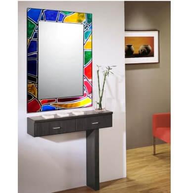 Espejos decorados a mano con material reciclado de alegres colores para todo tipo de ambiente decoración interiorismo