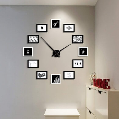 reloj pared conmarcos de fotos hora tiempo ofertas