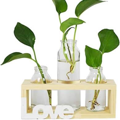 jarrones floreros macetas cristal decoracion plantas artificiales