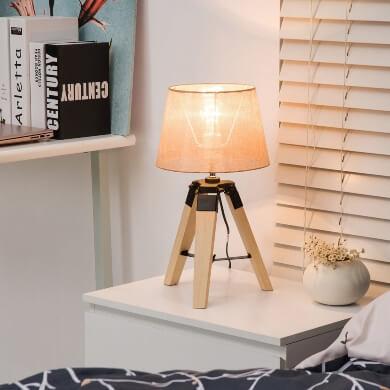 Oferta Lámpara mesa noche diseño Original lámpara Moderna Madera Pino tulipa lino tela