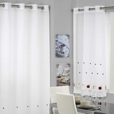 cortina cocina moderna color blanco tela