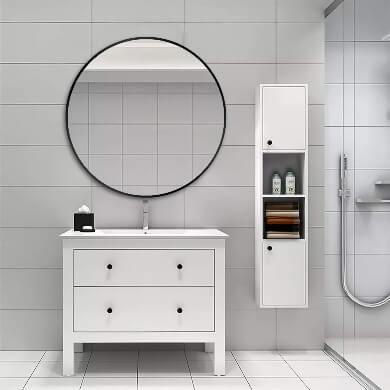 espejo moderno de baño redondo marco de hierro negro barato
