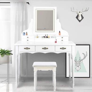 tocadores con espejo luz led cajones taburete madera blanco